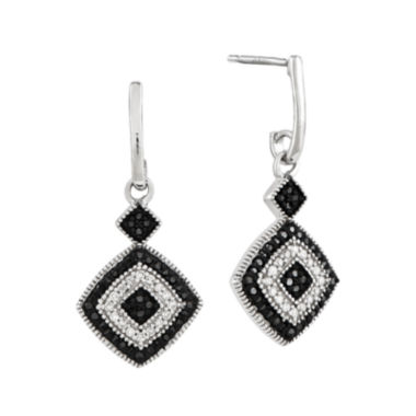 jcpenney.com | 1/3 CT. T.W. White and Color-Enhanced Black Diamond Sterling Silver Drop Earrings
