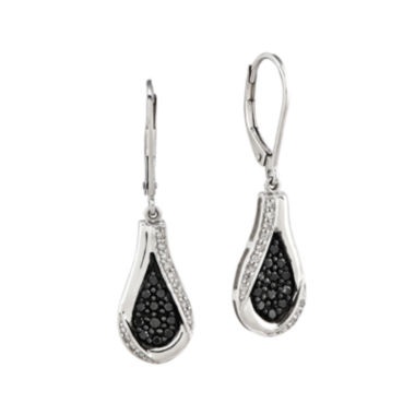 jcpenney.com | 3/8 CT. T.W. White and Color-Enhanced Black Diamond Sterling Silver Teardrop Earrings