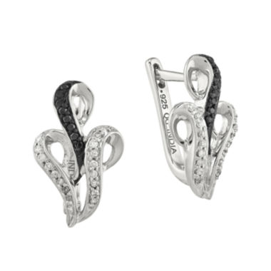 jcpenney.com | 1/5 CT. T.W. White and Color-Enhanced Black Diamond Sterling Silver Hinged Earrings