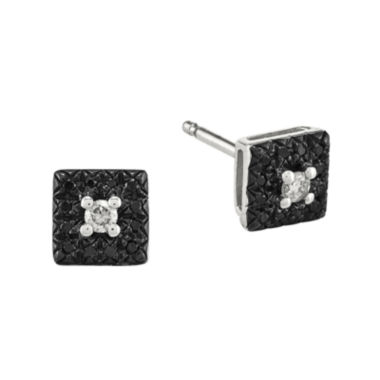 jcpenney.com | 1/8 CT. T.W. White and Color-Enhanced Black Diamond Sterling Silver Square Earrings