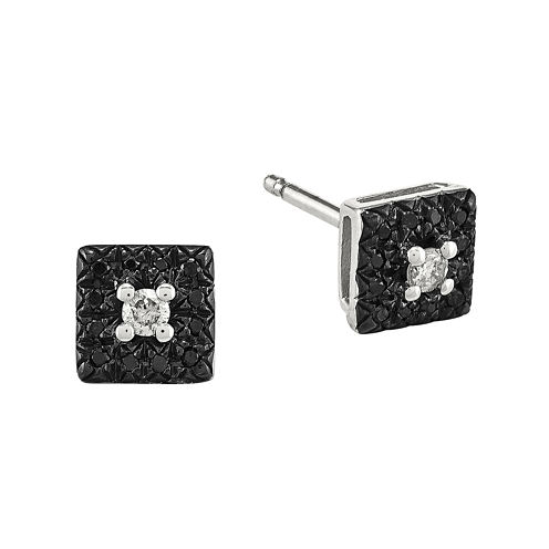 1/8 CT. T.W. White and Color-Enhanced Black Diamond Sterling Silver Square Earrings