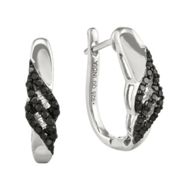 jcpenney.com | 1/5 CT. T.W. White and Color-Enhanced Black Diamond Sterling Silver Post Earrings