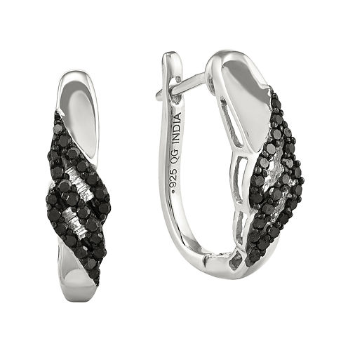 1/5 CT. T.W. White and Color-Enhanced Black Diamond Sterling Silver Post Earrings