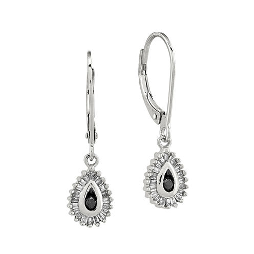 1/4 CT. T.W. White and Color-Enhanced Black Diamond Sterling Silver Teardrop Earrings