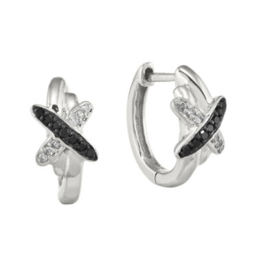 jcpenney.com | 1/10 CT. T.W. White and Color-Enhanced Black Diamond Sterling Silver Hoop Earrings
