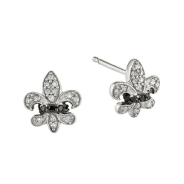 jcpenney.com | 1/6 CT. T.W. White and Color-Enhanced Black Diamond Sterling Silver Fleur De Lis Post Earrings