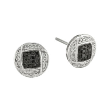 jcpenney.com | 1/3 CT. T.W. White and Color-Enhanced Black Diamond Sterling Silver Circle Post Earrings