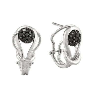 jcpenney.com | 1/4 CT. T.W. Color-Enhanced Black Diamond Sterling Silver Love Knot Post Earrings