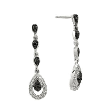 jcpenney.com | 1/4 CT. T.W. White and Color-Enhanced Black Diamond Sterling Silver Teardrop Earrings