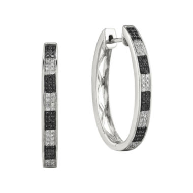 jcpenney.com | 1/3 CT. T.W. White and Color-Enhanced Black Diamond Sterling Silver Large Hoop Earrings