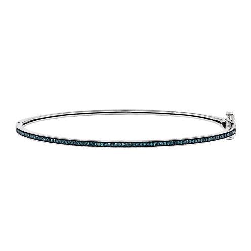 1/4 CT. T.W. Color-Enhanced Blue Diamond Sterling Silver Bangle Bracelet