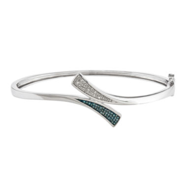 jcpenney.com | 1/5 CT. T.W. White and Color-Enhanced Blue Diamond Sterling Silver Bangle Bracelet