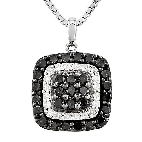 1 CT. T.W. White and Color-Enhanced Black Diamond Sterling Silver Square Pendant Necklace