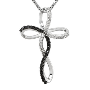 jcpenney.com | 1/4 CT. T.W. White and Color-Enhanced Black Diamond Sterling Silver Cross Pendant Necklace