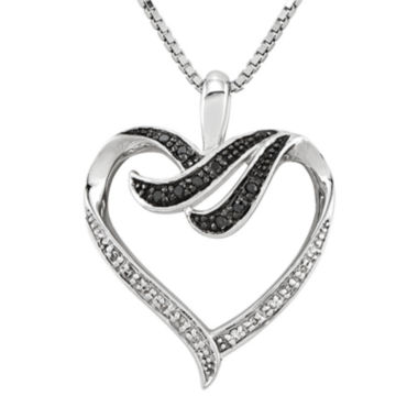 jcpenney.com | 1/10 CT. T.W. White and Color-Enhanced Black Diamond Sterling Silver Heart Pendant Necklace