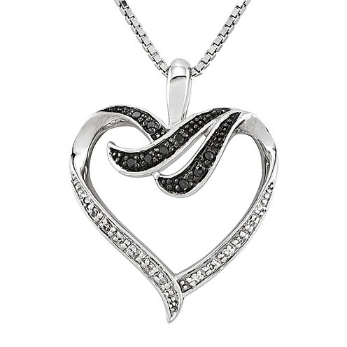 1/10 CT. T.W. White and Color-Enhanced Black Diamond Sterling Silver Heart Pendant Necklace