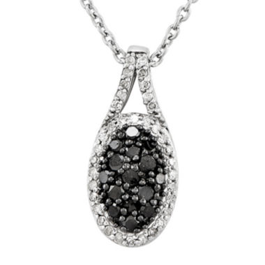 jcpenney.com | 1/2 CT. T.W. White and Color-Enhanced Black Diamond Sterling Silver Oval Pendant Necklace