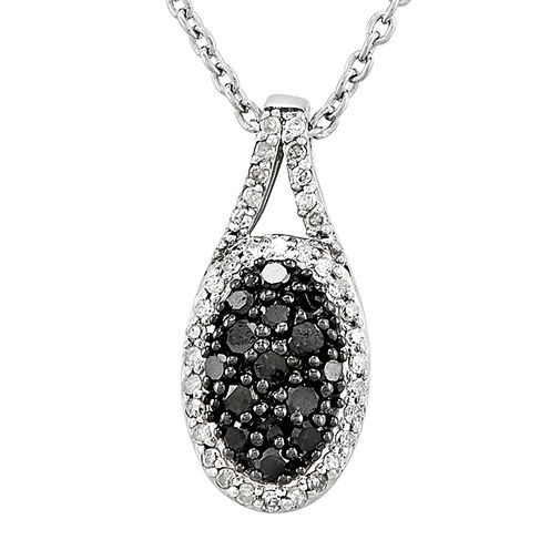 1/2 CT. T.W. White and Color-Enhanced Black Diamond Sterling Silver Oval Pendant Necklace