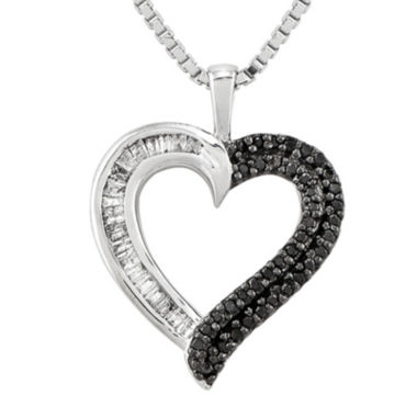 jcpenney.com | 1/4 CT. T.W. White and Color-Enhanced Black Diamond Sterling Silver Heart Pendant Necklace