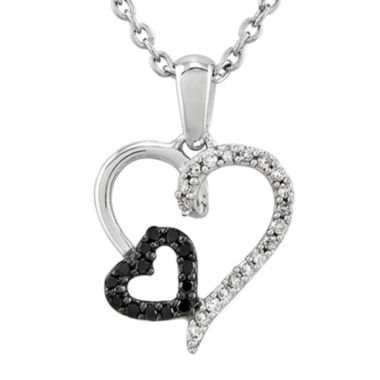 jcpenney.com | 1/10 CT. T.W. White and Color-Enhanced Black Diamond Sterling Silver Double Heart Pendant Necklace