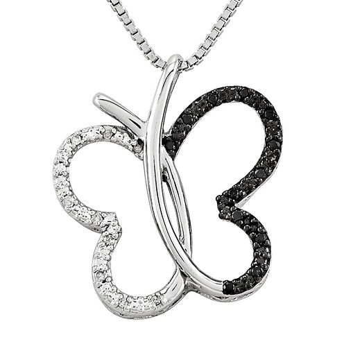 1/8 CT. T.W. White and Color-Enhanced Black Diamond Sterling Silver Butterfly Pendant Necklace