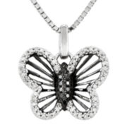 1/5 CT. T.W. White and Color-Enhanced Black Diamond Sterling Silver Butterfly Pendant Necklace