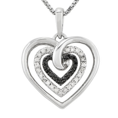 jcpenney.com | 1/4 CT. T.W. White & Color-Enhanced Black Diamond Sterling Silver Heart Pendant