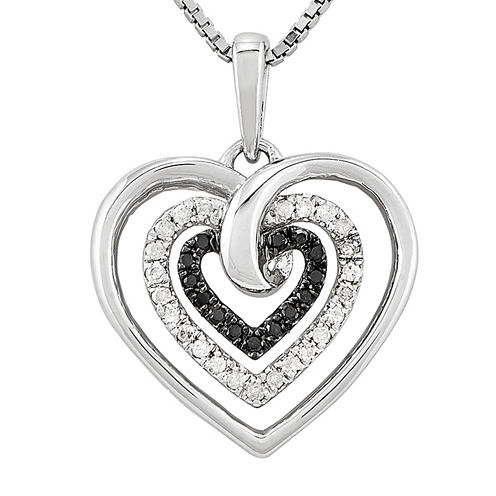 1/4 CT. T.W. White & Color-Enhanced Black Diamond Sterling Silver Heart Pendant