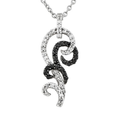 jcpenney.com | 1/3 CT. T.W. White and Color-Enhanced Black Diamond Sterling Silver Pendant Necklace