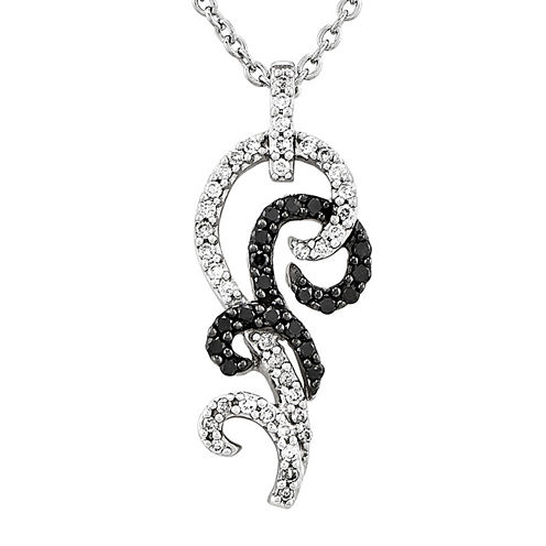 1/3 CT. T.W. White and Color-Enhanced Black Diamond Sterling Silver Pendant Necklace