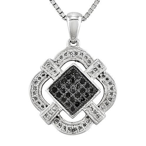 1/3 CT. T.W. White and Color-Enhanced Black Diamond Pendant Necklace
