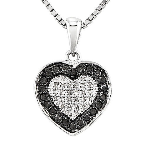 1/3 CT. T.W. White and Color-Enhanced Black Diamond Heart Pendant Necklace