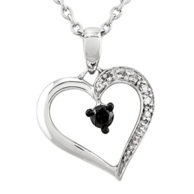 jcpenney.com | 1/8 CT. T.W. White and Color-Enhanced Black Diamond Heart Pendant Necklace