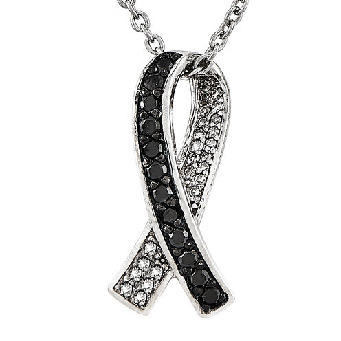 1/4 CT. T.W. White and Color-Enhanced Black Diamond Sterling Silver Pendant Necklace