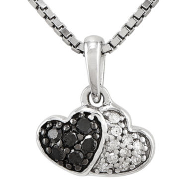 jcpenney.com | 1/8 CT. T.W. White and Color-Enhanced Black Diamond Sterling Silver Double Heart Pendant Necklace