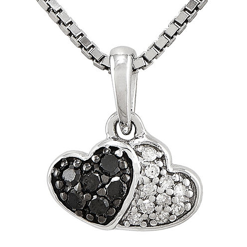 1/8 CT. T.W. White and Color-Enhanced Black Diamond Sterling Silver Double Heart Pendant Necklace