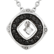 1/5 CT. T.W. White and Color-Enhanced Black Diamond Sterling Silver Fashion Pendant Necklace