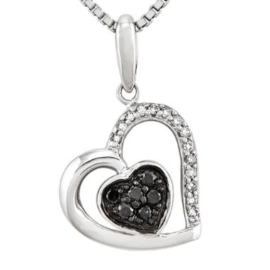 jcpenney.com | 1/6 CT. T.W. White and Color-Enhanced Black Diamond Sterling Silver Heart Pendant Necklace