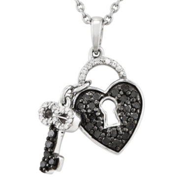 jcpenney.com | 1/2 CT. T.W. White and Color-Enhanced Black Diamond Sterling Silver Key to My Heart Pendant Necklace