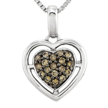 jcpenney.com | 1/4 CT. T.W. Champagne Diamond Sterling Silver Heart Pendant Necklace