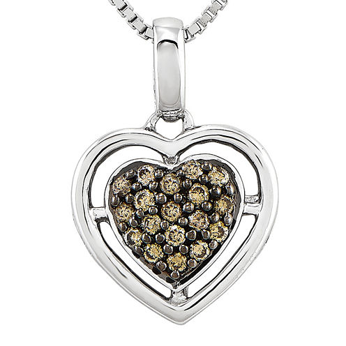 1/4 CT. T.W. Champagne Diamond Sterling Silver Heart Pendant Necklace