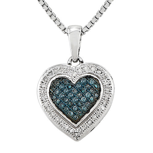 1/5 CT. T.W. White and Color-Enhanced Blue Diamond Sterling Silver Heart Pendant Necklace