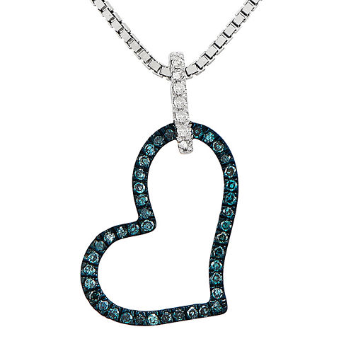 1/6 CT. T.W. White and Color-Enhanced Blue Diamond Sterling Silver Heart Pendant Necklace