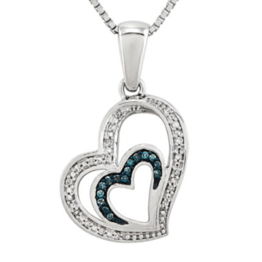 jcpenney.com | 1/10 CT. T.W. White and Color-Enhanced Blue Diamond Double Heart Necklace