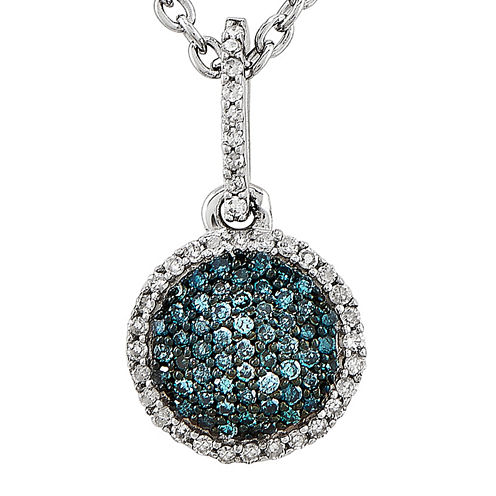 1/5 CT. T.W. White and Color-Enhanced Blue Diamond Circle Necklace