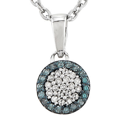 110 ct tw white and color enhanced blue diamond circle pendant tw white and color enhanced blue diamond circle pendant necklace aloadofball Gallery