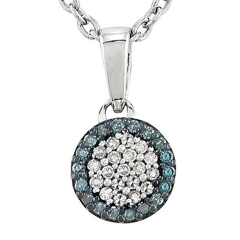 1/10 CT. T.W. White and Color-Enhanced Blue Diamond Circle Pendant Necklace