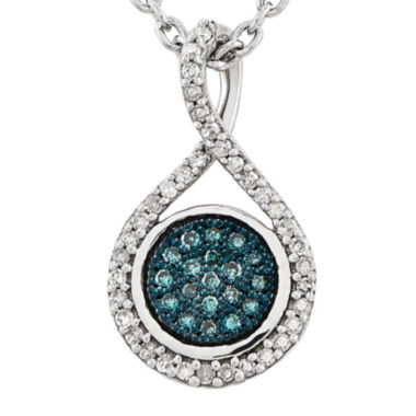 jcpenney.com | 1/7 CT. T.W. White and Color-Enhanced Blue Diamond Sterling Silver Fashion Pendant Necklace