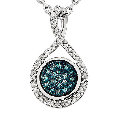 1/7 CT. T.W. White and Color-Enhanced Blue Diamond Sterling Silver Fashion Pendant Necklace
