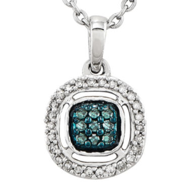 jcpenney.com | 1/5 CT. T.W. White and Color-Enhanced Blue Diamond Sterling Silver Fashion Pendant Necklace